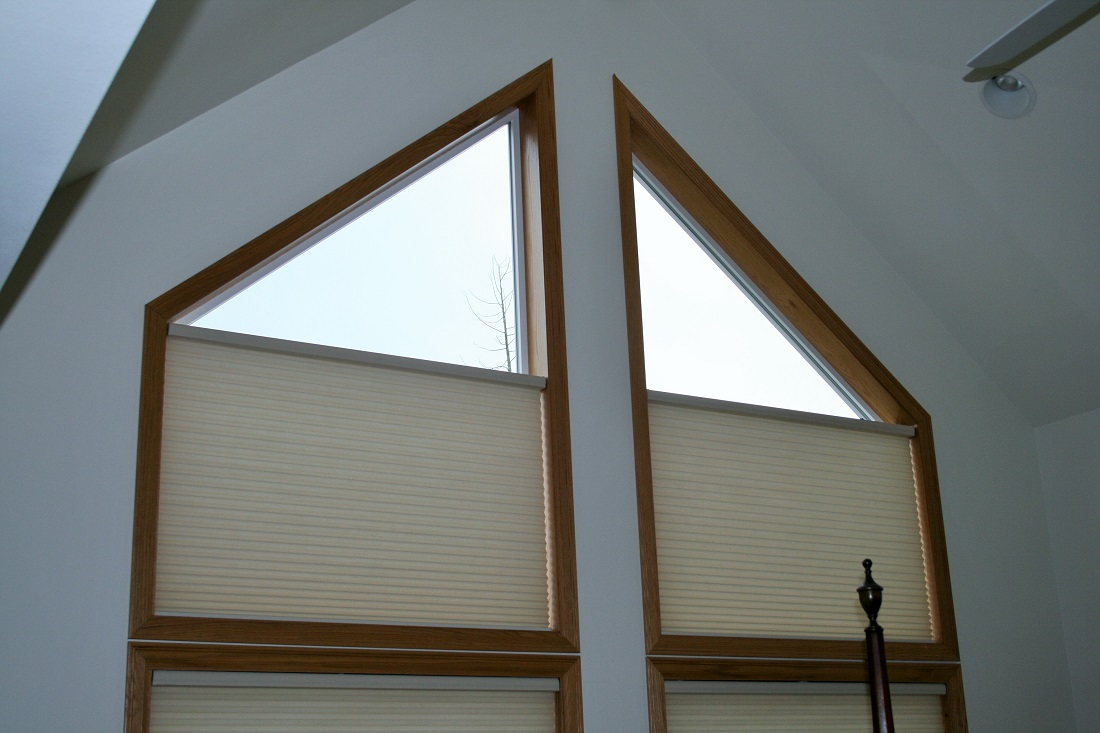 Angle top window with Hunter Douglas Duette motorized & hardwired power