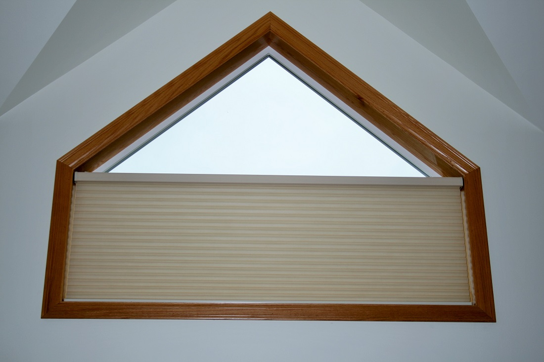 Pentagon shaped window with Hunter Douglas Duette motorized & hardwired power