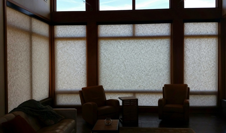 Living Room Hunter Douglas motorized roller shades with Somfy motors and black fascia.