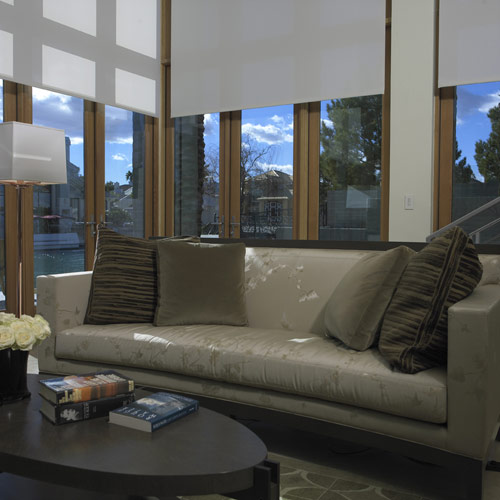 Window Coverings Motorized Roller Shades Home Theater
