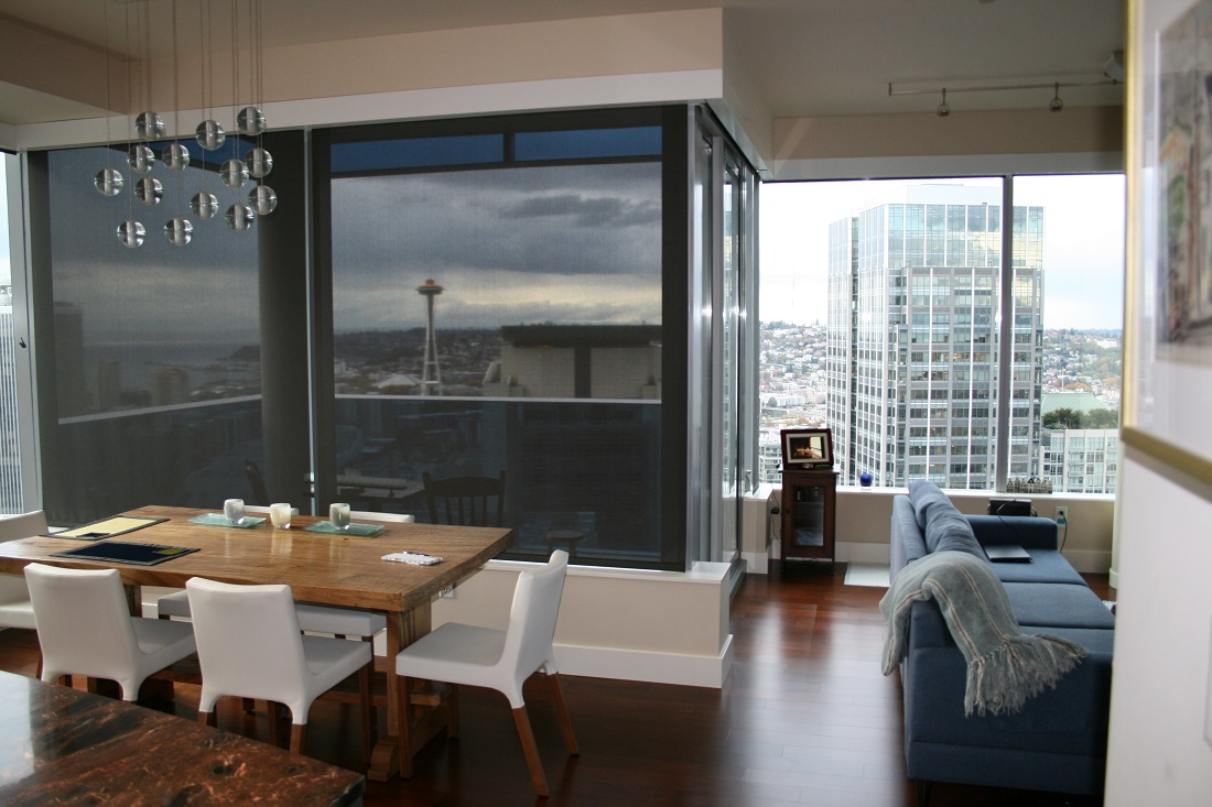 The Space Needle from Olive 8 through the Lutron QED motorized roller shades.