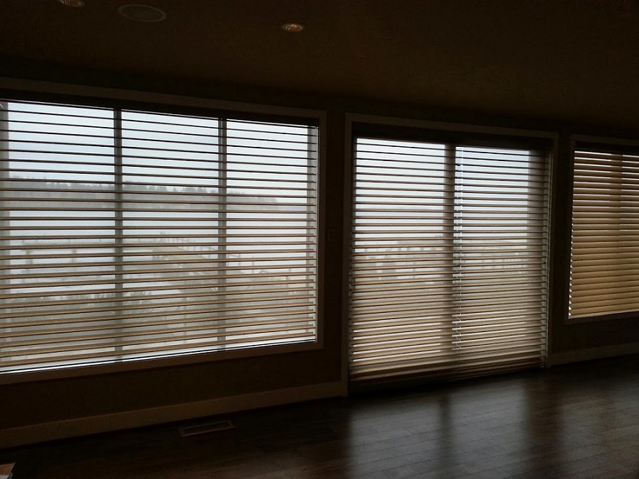 Hunter Douglas Silhouette motorized shades with hardwired power.